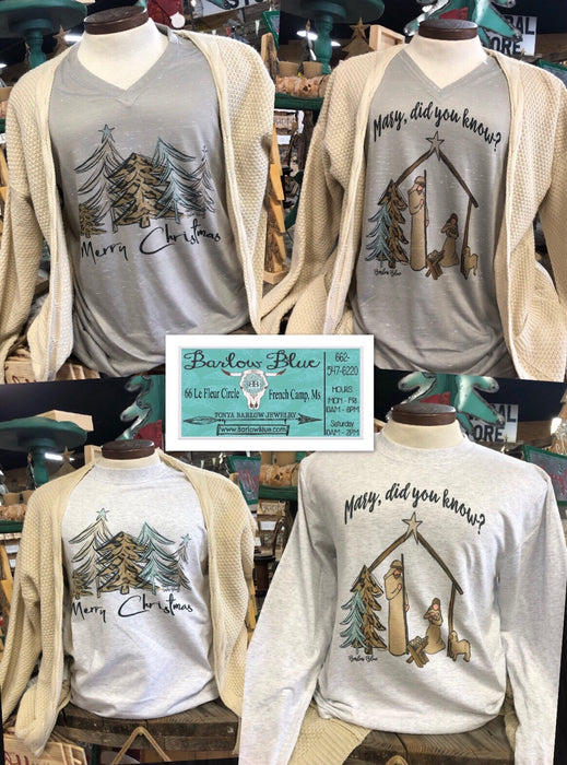 Christmas Tees with Leopard Print Accents.  Bella Canvas Stone V Neck Shirts.  P&C Brand Long Sleeve Shirts.