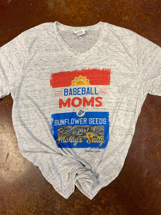 Baseball Moms and Sunflower Seeds—Bella Canvas V Neck Tee