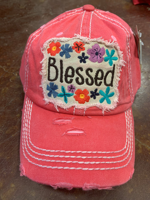 """Blessed"" distressed hat for ladies with floral pattern."