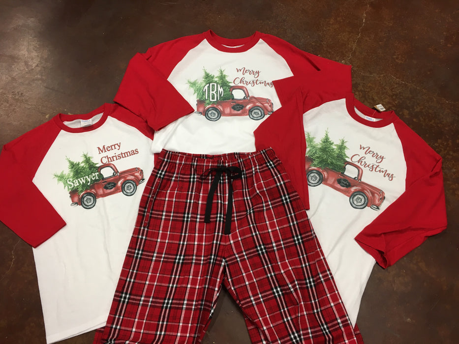 Christmas Truck Raglan with Optional Monogram and Optional Pajama Pants