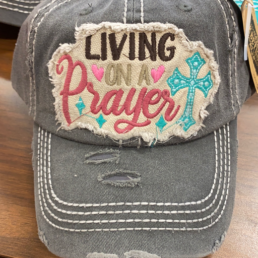 """Living On A Prayer "" distressed  hat for ladies"