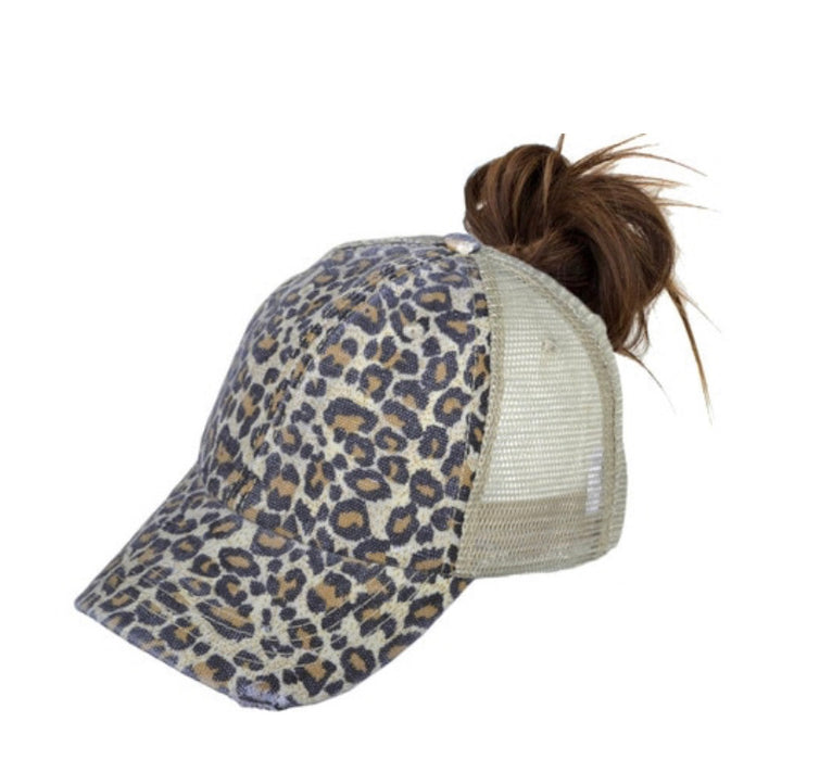 Leopard Ponytail Trucker Hats