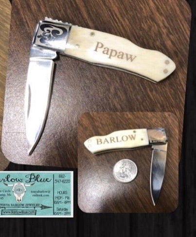 Personalized Pocket Knife.  We can put whatever you want on it!