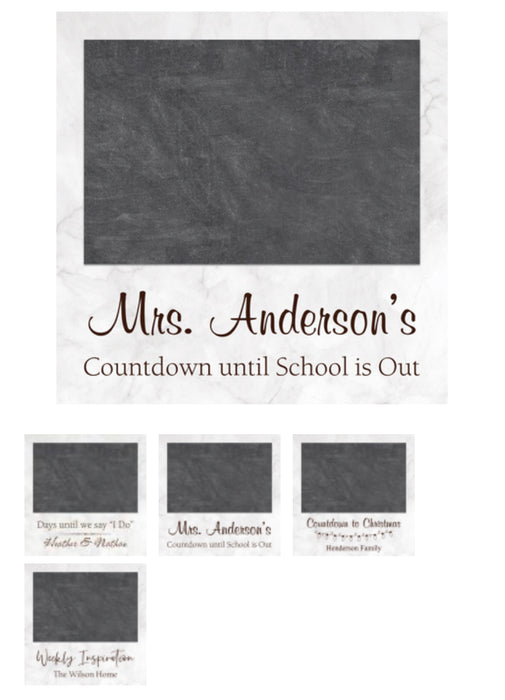 "Personalized Chalk Board Sign for ANY occasion.  Can be personalized to say anything.  Some ideas are shown.  7""x7"""