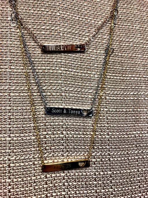 Bar Necklace with Heart Cut Out.  Customize to say ANYTHING you want!