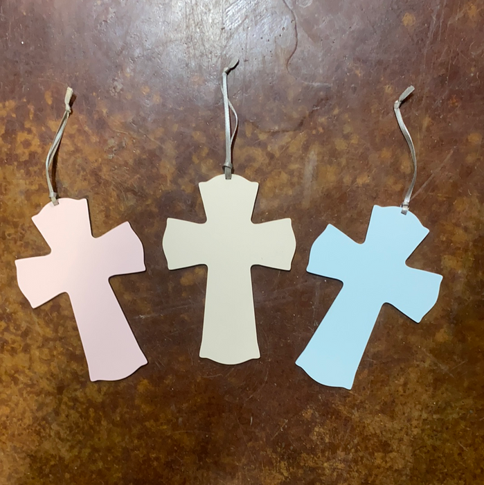 Small Cross Ornaments.  Can be personalized to say whatever you want.