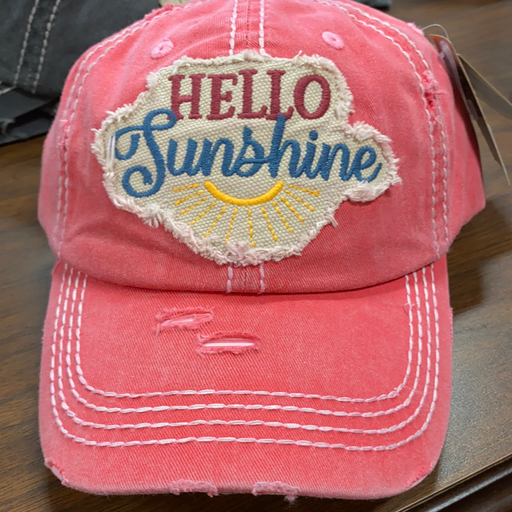 """Hello Sunshine "" distressed  hat for ladies"