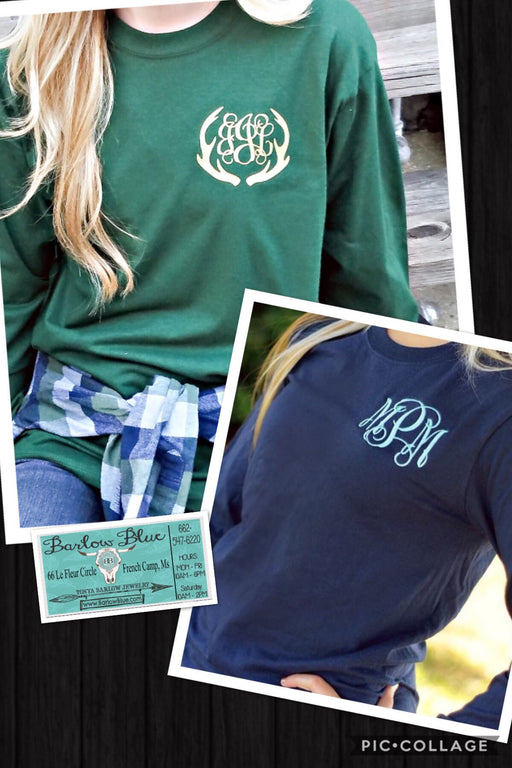 Long Sleeved Tee with Small Pocket Monogram.