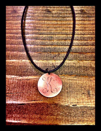 Cord Necklace with Metal Charm with Monogram