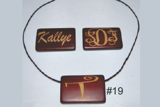 Rectangle Wood Necklace with ONE initial