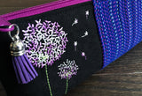 Violet Rainbow Dandelions Long and Lean Zipper Bag