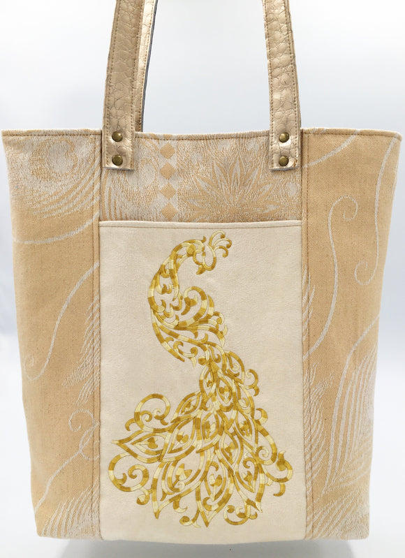 Pavonis Elegant Tote Bag with Gilded Peacock Embroidery!