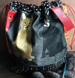 Velvet Kitties Large Project Bag
