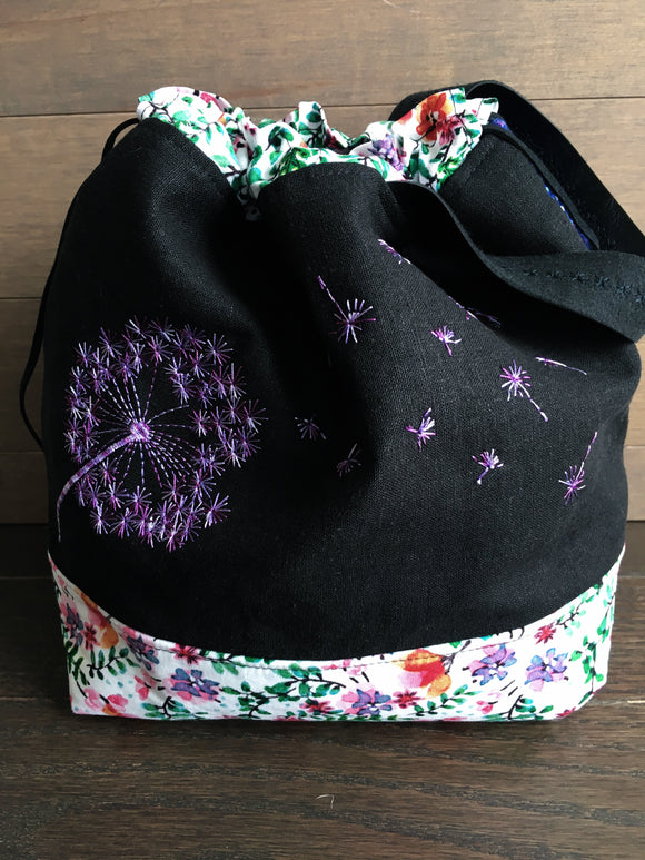 Violet Rainbow Dandelions Medium Project Bag