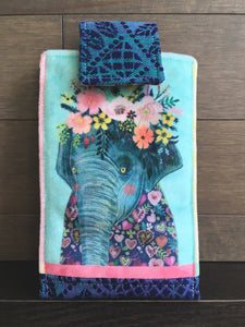 Botanical Beasts Elephant Phone Pouch with Internal Card Pocket