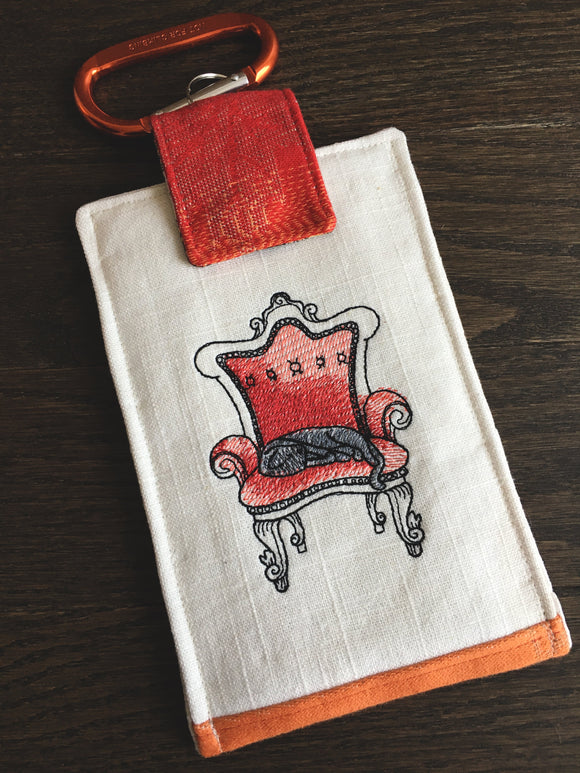 Cat Nap Jacquard and Embroidery Phone Pouch with Internal Card Pocket