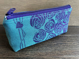 Teal and Purple Roses & PUL Lined Compact Zipper Bag