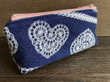 Lace Hearts Jacquard & PUL Lined Compact Zipper Bag