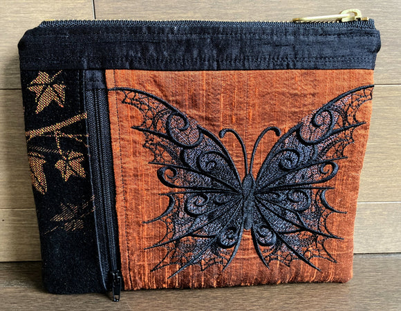 Shadows and Candlelight Butterfly Double Pocket Zipper Bag