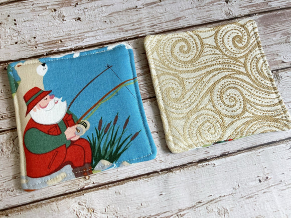 Glamping Santa Insulated Reversible Mug Rug Set