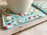 Holiday Gnomes Insulated Reversible Mug Rug Set
