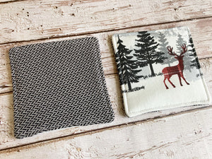North Woods Christmas Insulated Reversible Mug Rug Set