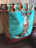 Boho Foxes in Reds and Yellows Medium Project Bag