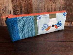 Bluebirds Long and Lean Zipper Bag