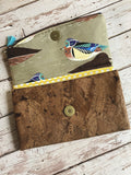 Wood Duck Cork and Cotton Tri Fold Wallet