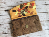 Towhee and Turtle Cork and Cotton Tri Fold Wallet