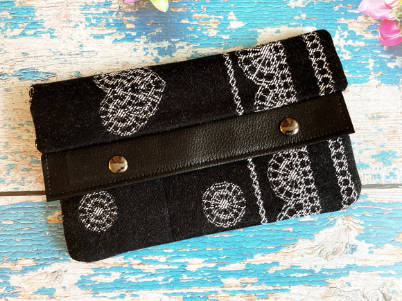 Black Floral Large Minimalist Wallet