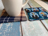 Allons-Y Insulated Reversible Mug Rug Set