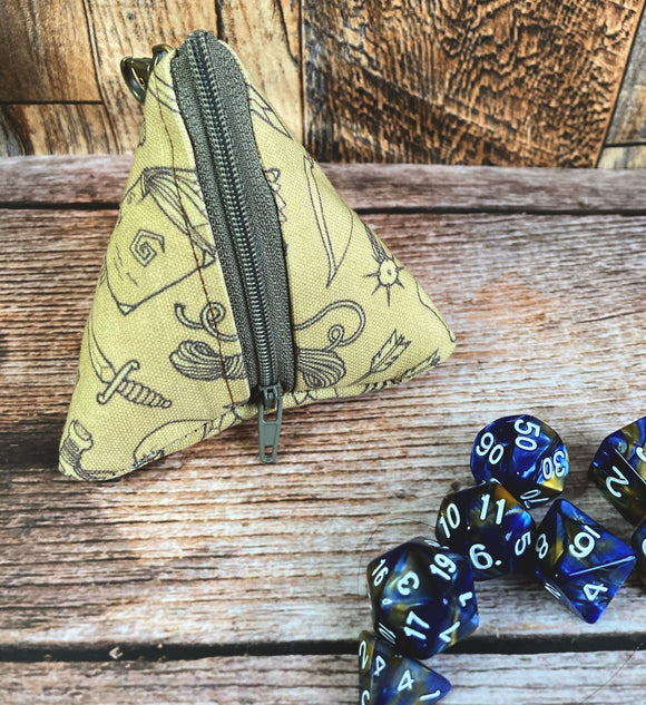 4 Sided Pyramid Dice and Trinket Bag