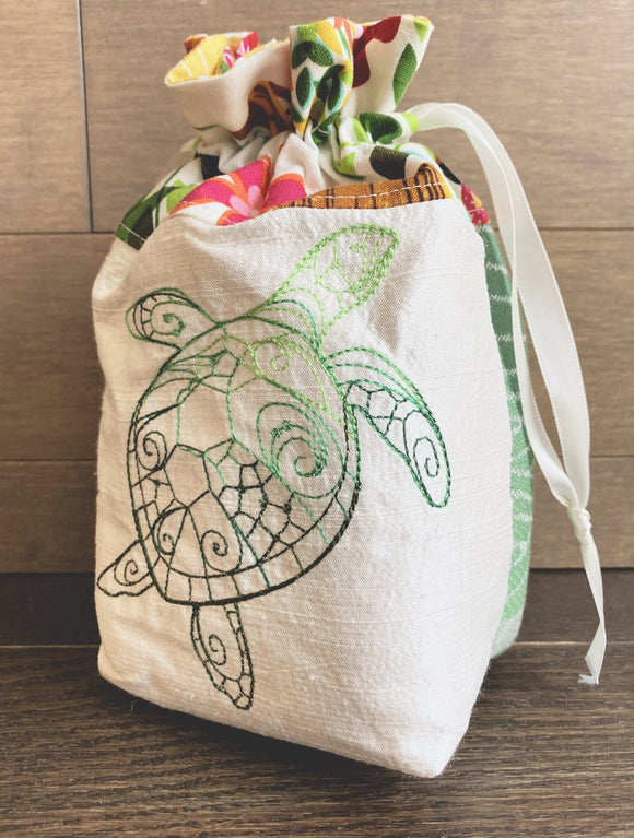 Sea Turtle Drawstring Bag or Dice Bag