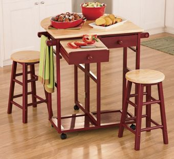 Kitchen Island Breakfast Bar - RED