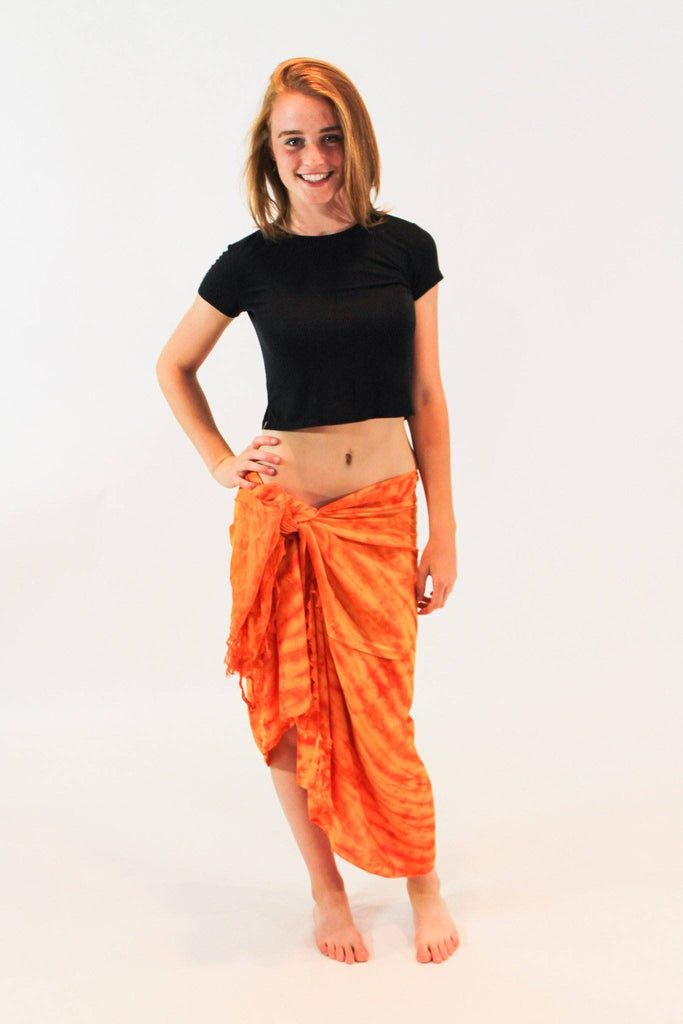 Organic Cotton Tie Dye Wrap Sarong Scarf Beach Cover Up Orange - Tie Dye Leggings