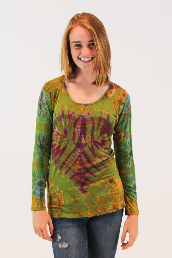 Women's long sleeve Tie Dye Green Heart Shirt - Tie Dye Leggings