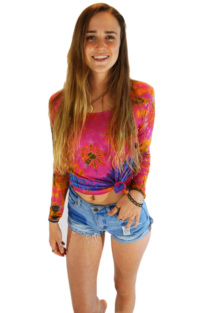Women's Long Sleeve Pink Mix Tie Dye Shirt - Tie Dye Leggings
