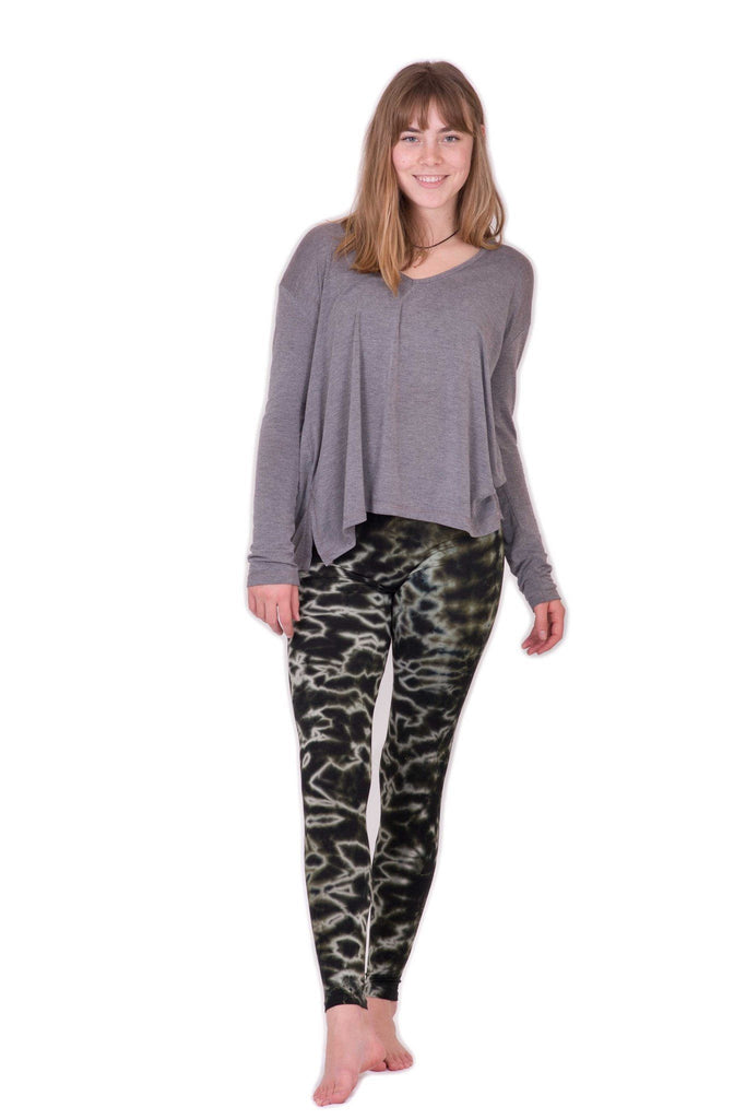 Grey Green Mix Marble Tie Dye Leggings - Tie Dye Leggings