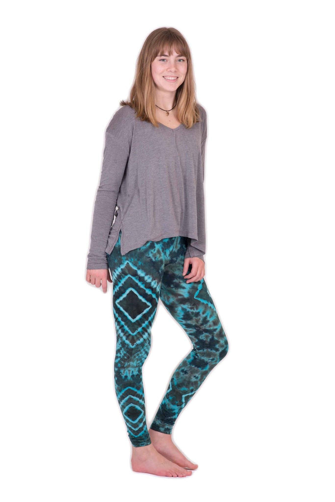 Turquoise Diamond Tie Dye Leggings - Tie Dye Leggings