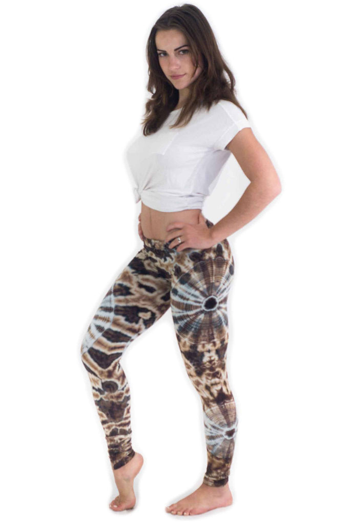 White Brown Spider Web Tie Dye Leggings - Tie Dye Leggings