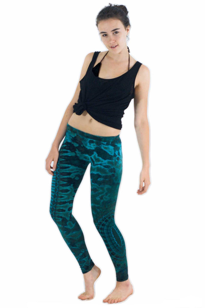 Bright Blue Turquoise Tie Dye Leggings - Tie Dye Leggings