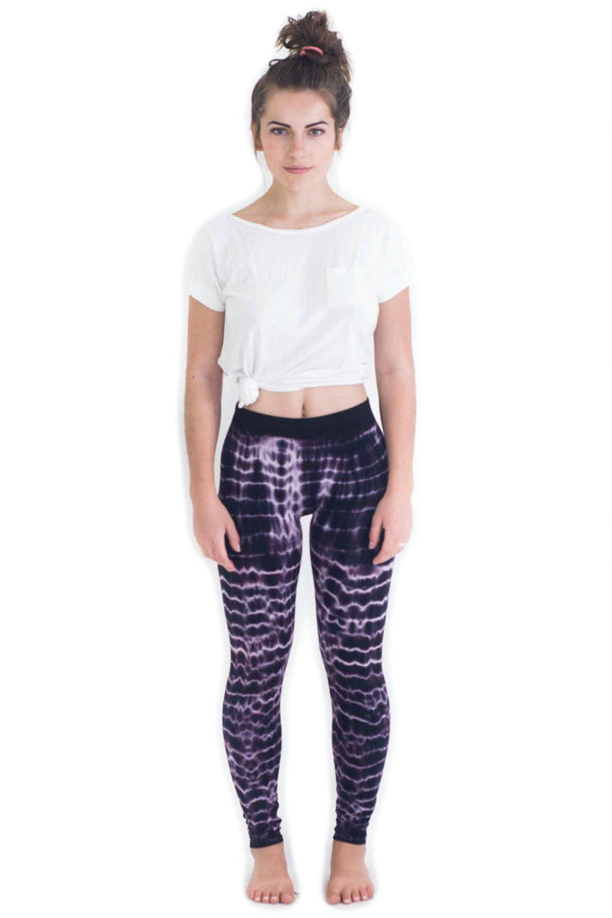 Purple Melting Stripes Tie Dye Leggings - Tie Dye Leggings