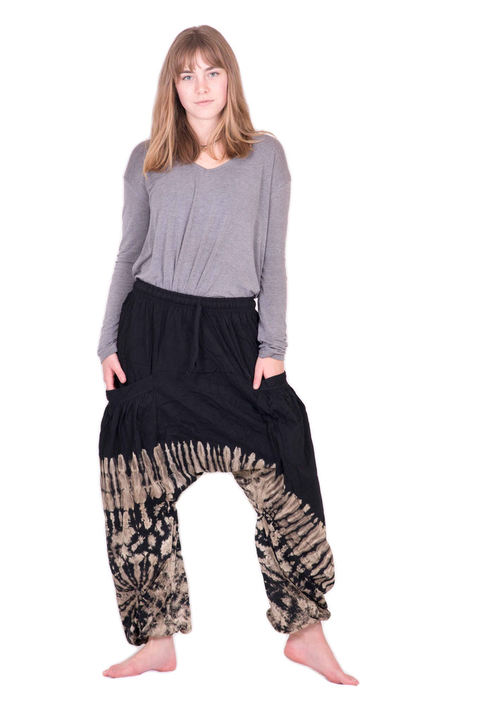 Tan Huge Pockets Tie Dye Pants - Tie Dye Leggings