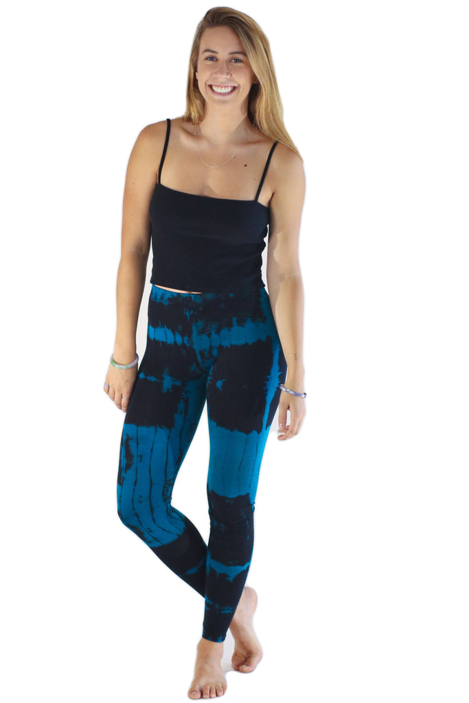 Blue Patch Tie Dye Leggings - Tie Dye Leggings