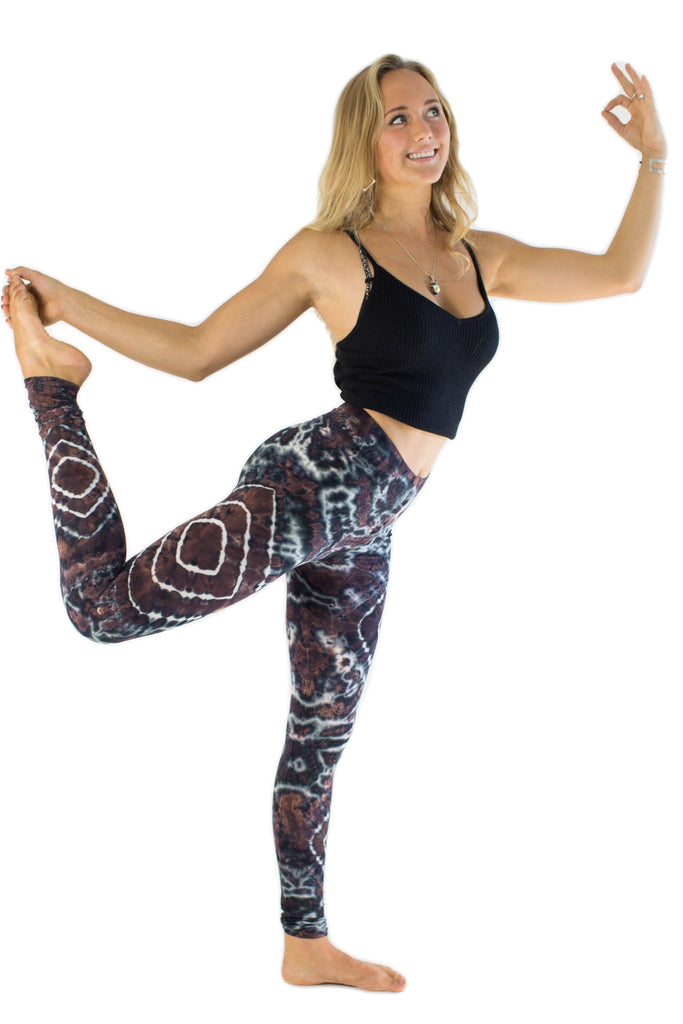 Grey White Diamond Tie Dye Leggings - Tie Dye Leggings