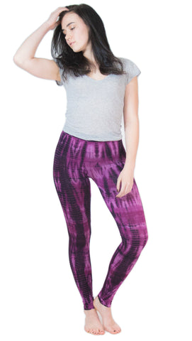 Purple Lightning Stripes Tie Dye Leggings - Tie Dye Leggings