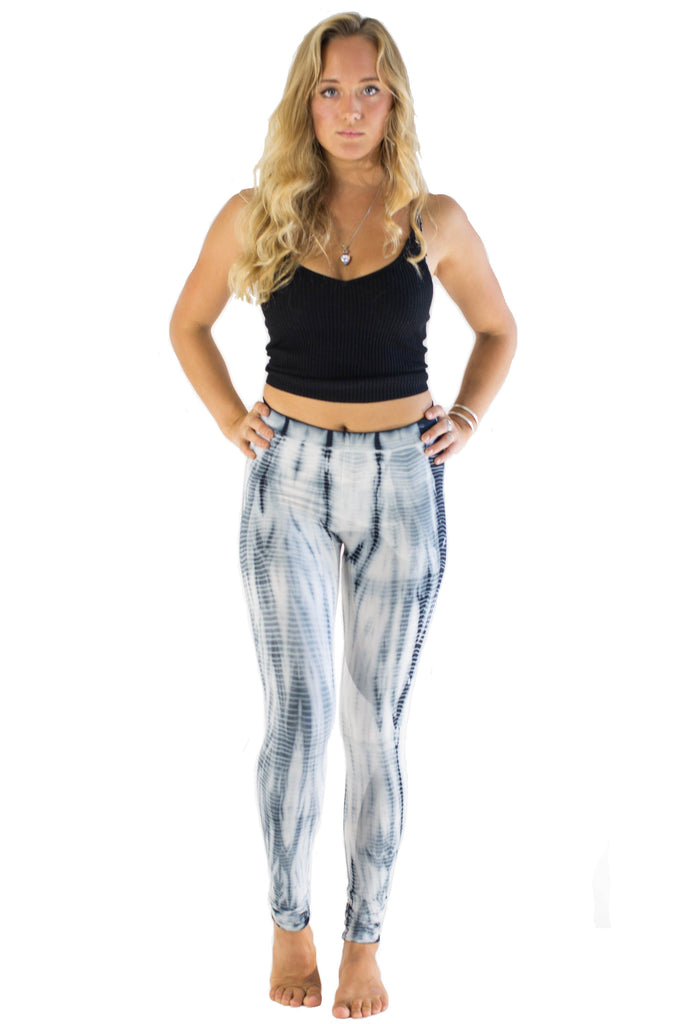 White Lightning Stripes Tie Dye Leggings - Tie Dye Leggings
