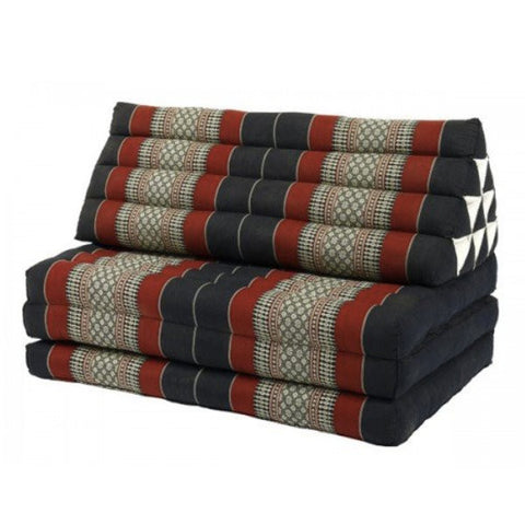 Extra Large Three-Fold Thai Cushion - Red and Black