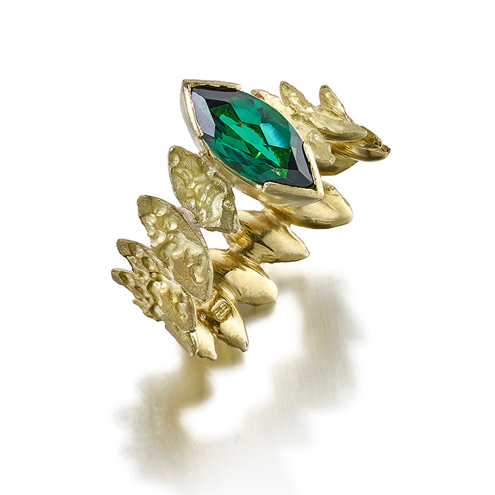 Tourmaline leaf ring